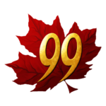 The Trawin Seeds logo is a red maple leaf with the number 99 in the centre of the leaf