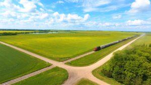 Saskatchewan Train in the Prairies